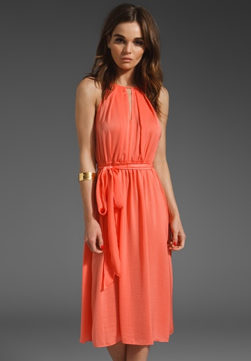 Rebecca Taylor Ruffle Me Up Dress in Hot Coral