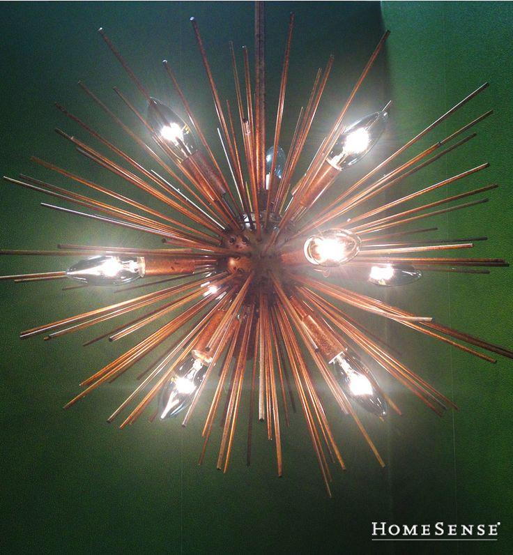This unique copper spiked hanging light is a modern sculpture with a rustic and edgy finish. #lighting #solutions #lamp #decor #ideas / Cet unique luminaire suspendu en cuivre est une sculpture moderne avec une touche rustique et avant-gardiste. #luminaires #solutions #lampe #deco #idees  Enter Contest: www.HomeSense.ca/HomeSenseStyle Participer: www.HomeSense.ca/HomeSenseStyleFr #HomeSenseStyle