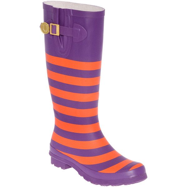 Lillybee University Orange & Purple Stripe Rain Boot ($35) ❤ liked on Polyvore featuring shoes, boots, rain boots, purple boots, wellies boots, purple rain boots and striped boots