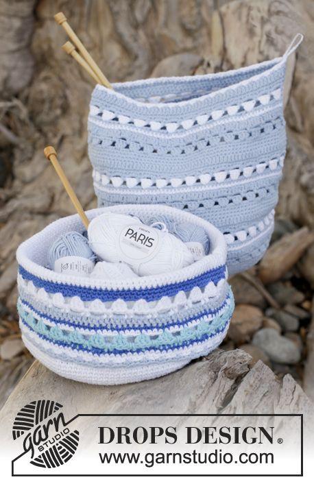 "Crochet DROPS baskets with stripe pattern in ""Paris"". ~ DROPS Design"
