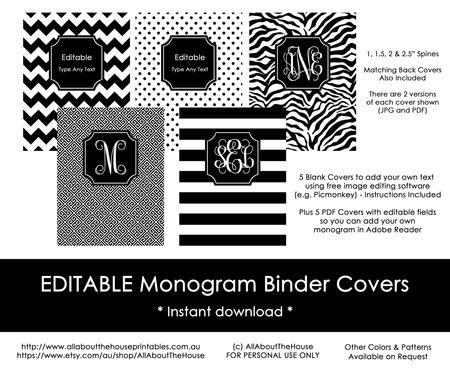 Editable Printable Monogram Binder Cover and spine, chevron polka, dot stripe, zebra, greek key, DIY Notebook, Stationery Preppy, school, college, organization, home binder, black, ink friendly, wedding, notebook cover, planner cover, custom, personalised, http://www.allaboutthehouseprintables.com.au/shop-by-color/black/editable-monogram-binder-covers-black/
