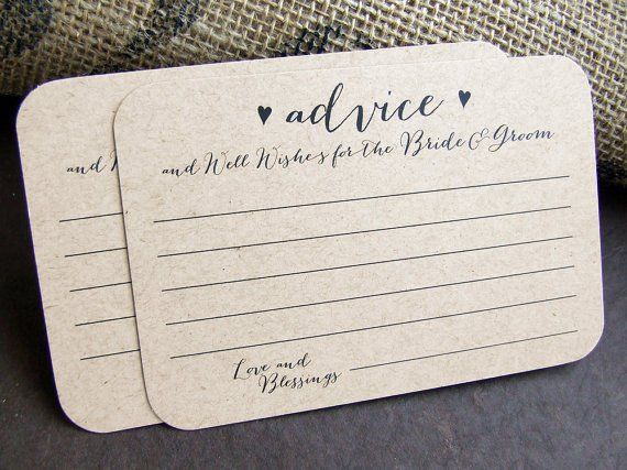 100 Advice Wedding Advice Cards For The Bride And Groom Printed