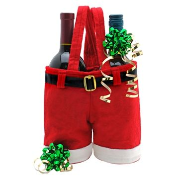 Santa Pants  ...what a great way to package a gift!  This tote holds up to 2 bottles of wine ( one in each pant leg); or oil and vinegar, shampoo and conditioner, gourmet sodas / sparkling juices, candies or other small gifts.  Put some Ho Ho Ho in your holiday gift giving!    http://www.makelifespecial.com