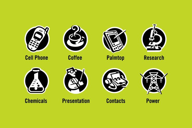 "General Icons - ""Cell Phone, Coffee, Palmtop, Research, Chemicals, Presentation, Contacts, Power"" - Icon Designs"