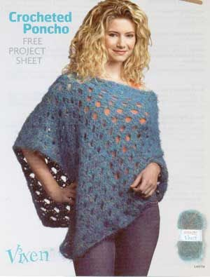 Crocheted Poncho LM0156 | Purple Kitty
