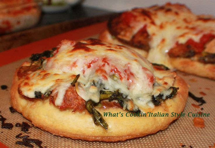 What's Cookin' Italian Style Cuisine: Broccoli Rabe Sausage Mini Pizza Recipe #AnythingGoes