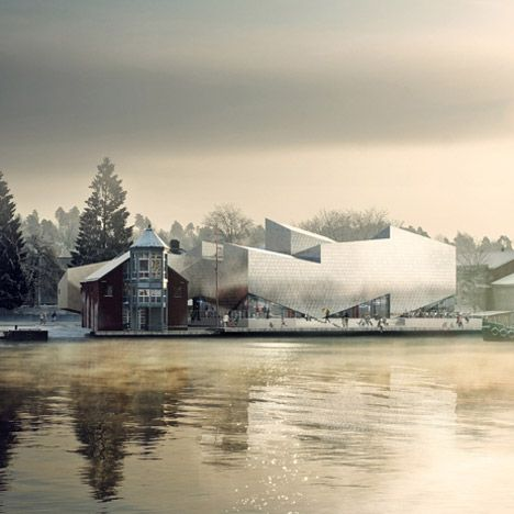 Construction has begun on an aluminium-clad museum in Norway by Danish architecture studios COBE and Transform.  The Maritime Museum and Science Centre will be situated beside the river in the harbour town of Porsgrunn.