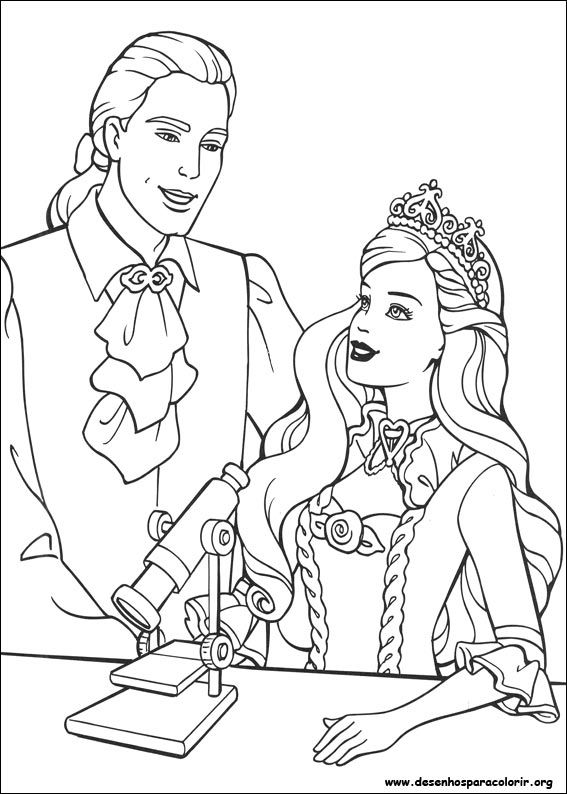 Barbie Princess With Boyfriend Coloring For Kids