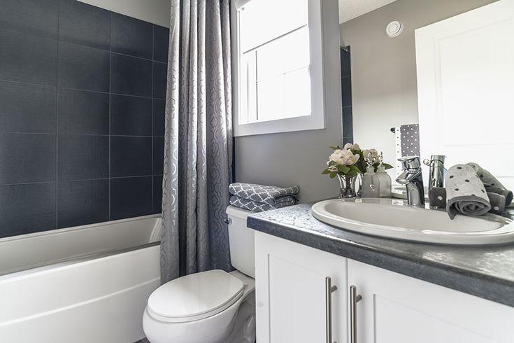 Beautiful grey slate tiling in the bathroom too!