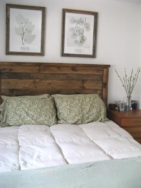 Re-claimed Queen-sized headboard. Love this rustic look for a guest bedroom!  (This woman's site is great for DIY ideas estimated costs!