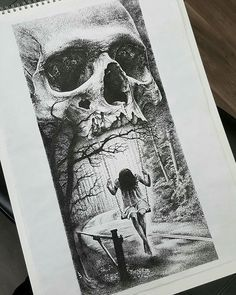 """""""Swinging from the jaws of death' - Incredible dotwork drawing by artist…"""