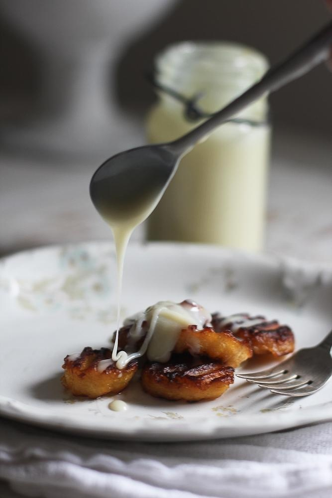 Coconut Oil Fried Plantains with Sweetened Condensed Milk by @E. Ann/  // A unique sweet treat your family will love! #plantain #recipe