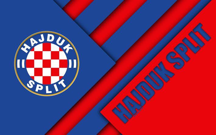 Download wallpapers HNK Hajduk Split, 4k, red blue abstraction, logo, material design, Croatian football club, Split, Croatia, Prva HNL, football, Croatian First Football League