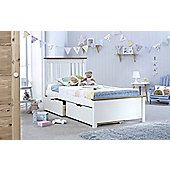 Happy Beds Chester Solo 3ft Single White Wooden Bed Frame and 2 Drawers