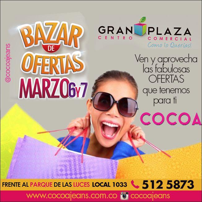 Te esperamos hoy y mañana en el #bazardeofertas #granplaza #descuentos #moda #ofertas #parati #cocoajeans