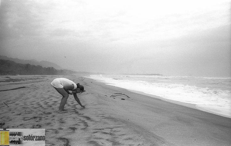 Raquel, playa bonita, tayrona, Colombia. Canon AE1 program, Kodak Tmax 100