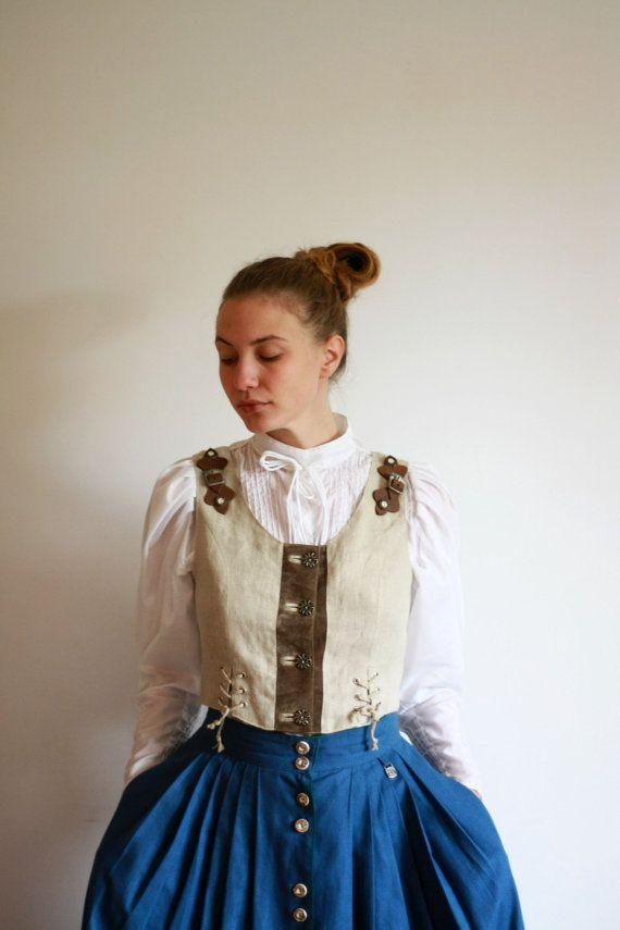Vintage Women's Dirndl Loden Linen Beige Vest by VTGCollectionShop, $27.00