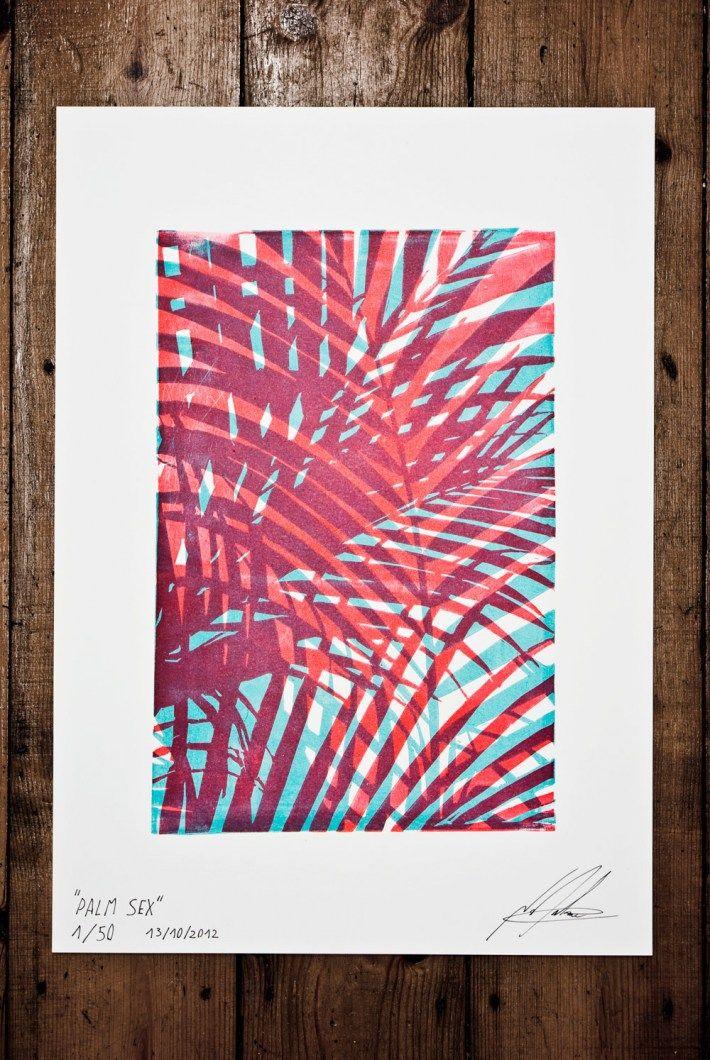 "Hi It's Nathan Gilson. Here is my last linocut work: #21 ""Palm Sex""    Lino cut, print, illustration"