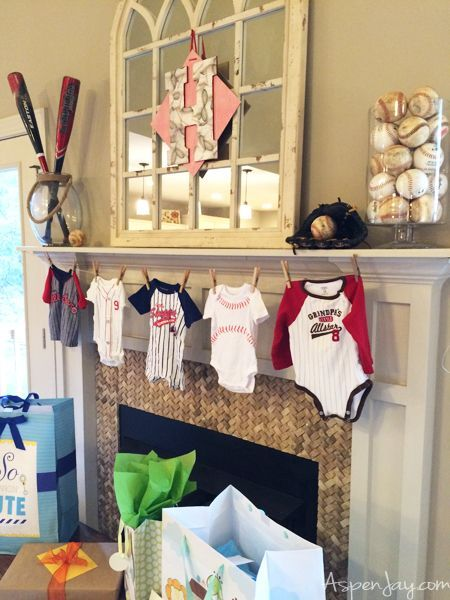 Super cute Baseball themed Baby Shower. Everything is just perfect! She even includes the adorable baseball printables for free download! Love this theme for a baby shower! #BaseballBoys