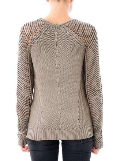 Skeletal cord knit sweater