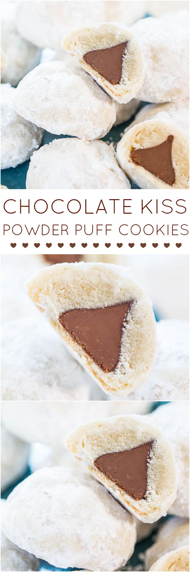 Chocolate Kiss Powder Puff Cookies - Easiest cookies ever with only 3 ingredients! The Kiss in the middle makes everyone smile!! So fun!!