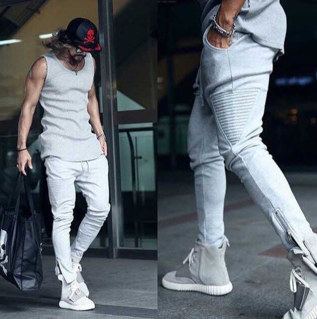 #1503 Men joggers Slim With zipper Beam pants Punk Harajuku Hip hop pants Fashion Casual Sarouel homme Sweatpants for men