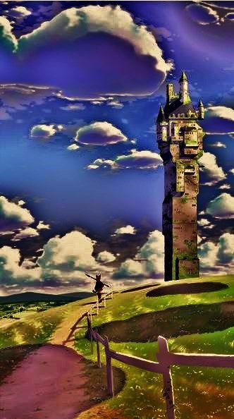 ____ENHANCED VERSION____ castle, keep, tower ,anime ,landscape ,manga ,art ,fantasy ,temple, sky, clouds.