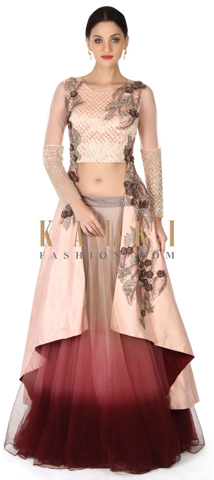 Buy this Shaded lehenga in with long embroidered blouse only on Kalki