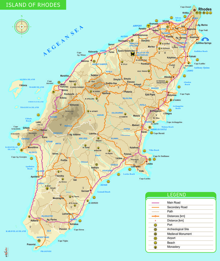 Rhodes island map, Greece