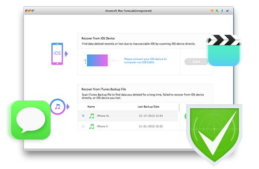 Aiseesoft Mac FoneLab - Recover data from iPhone, iPad, iPod and iTunes on Mac