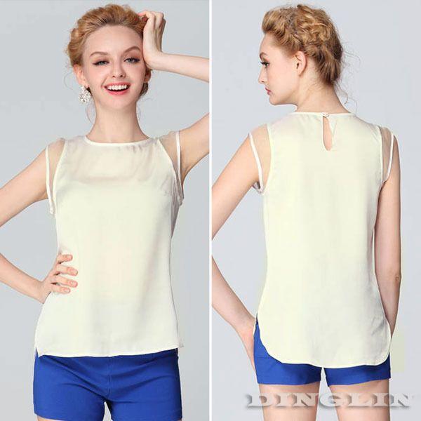 Fashion Elegant Women Sleeveless Crew Neck Sheer Chiffon Casual Irregular White Blouses Tops Shirt Size S M L Free Shipping 1229