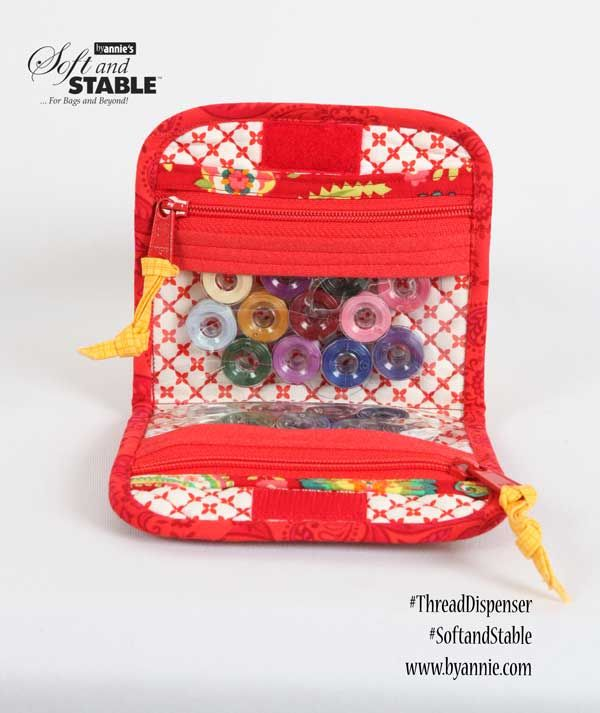 DIY Thread dispenser and sewing case. Perfect for holding your thread and small items. Zips and wraps up so everything is enclosed. Thread Dispenser pattern using ByAnnie's Soft and Stable.