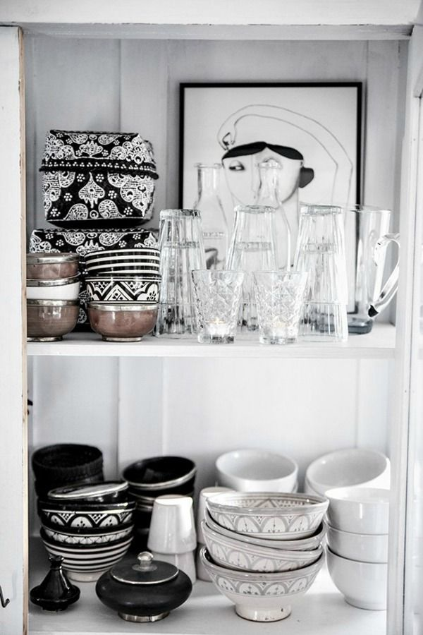 Black, white and grey Morrocan style kitchen wares: