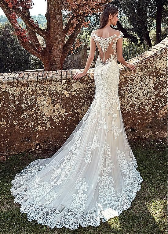 Magbridal Fabulous Tulle Bateau Neckline Mermaid Wedding Dresses With Lace Appliques