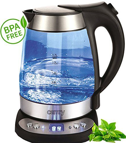 Camry Stainless steel kettle with temperature control warm function Glass exclusive blue LED lighting 1.7L No description (Barcode EAN = 0623262321548). http://www.comparestoreprices.co.uk/december-2016-6/camry-stainless-steel-kettle-with-temperature-control-warm-function-glass-exclusive-blue-led-lighting-1-7l.asp