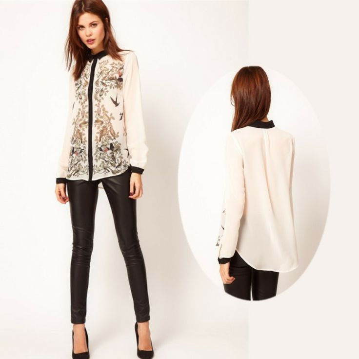 New Lapel Collar Leiothrix Chiffon Long Sleeve Womens Shirt Tops Blouses 67 $6.71