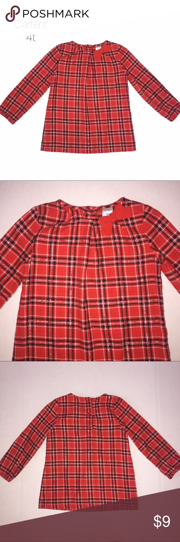 Carters Red Plaid Tunic Long Sleeve Blouse 4T Gently worn Carters Red Plaid Tunic Long Sleeve Blouse 4T small hole on back has been repaired Carter's Shirts & Tops Blouses