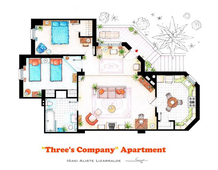 Spanish artist & interior designer Iñaki Aliste Lizarralde draws floor plans of houses & apartments from favorite TV shows.