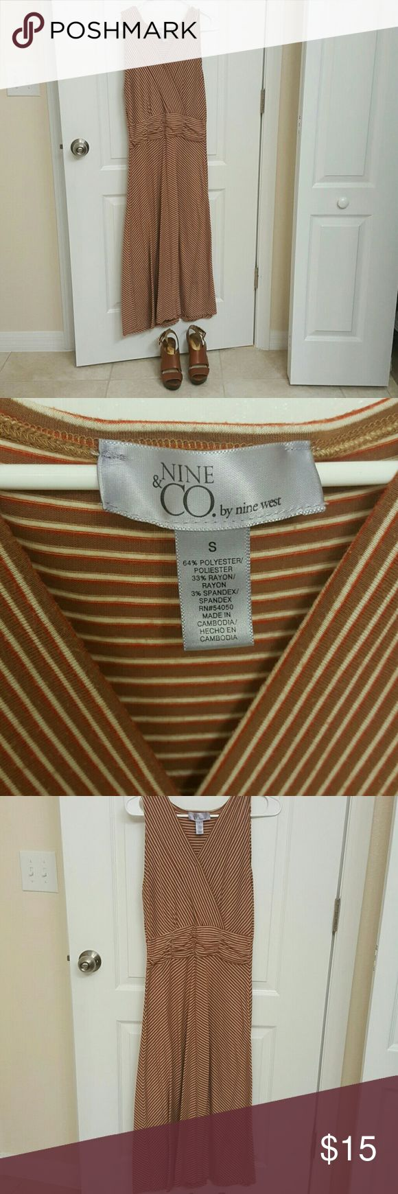 Sundress by Nine & CO Nine West Brown/Red/Beige striped dress. Very comfortable, easy to throw for a nice weekend party. Nine West Dresses Maxi