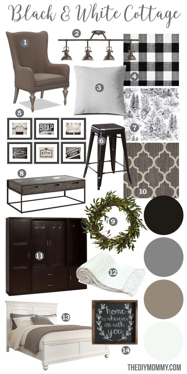 A black & white farmhouse country cottage decor mood board
