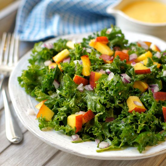 Kale Salad with Peach Vinaigrette. This dressing is so good, I could drink it straight from the blender!