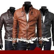 2014 nieuwe promotie mannen pu leren jas jas/fashion heren jas/goede kwaliteit koreaanse uitloper/gratis verzending 3 kleuren m-xxl Woy(China (Mainland))