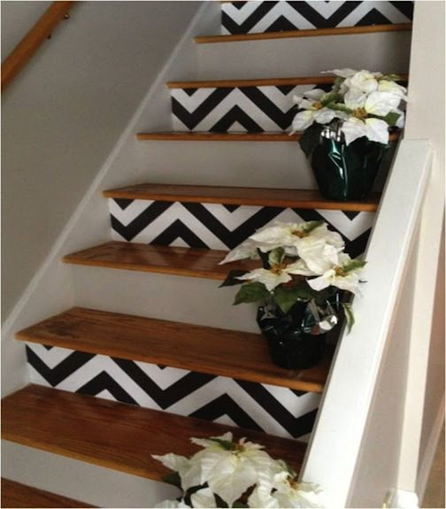 Chevron stairs... I need this! Love the natural wood still on top, just stained, not painted. Compromise.