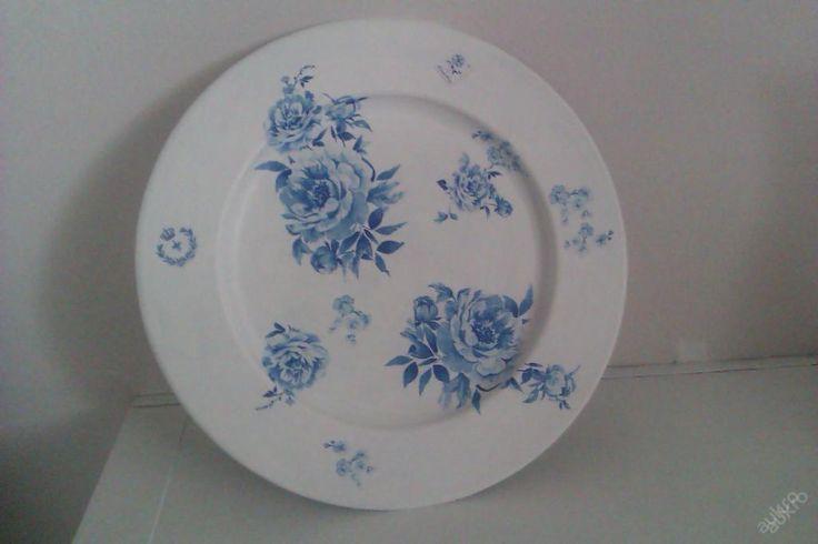 Dekorační talíř na svíčku,kamínky decoupage