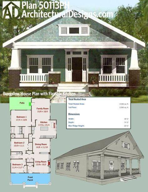 Plan 50113ph Bungalow House Plan With Flexible Kitchen