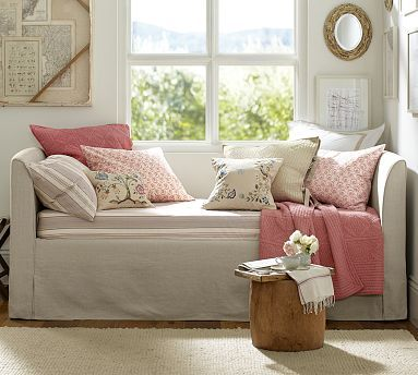 lewis daybed u0026 slipcover with trundle potterybarn