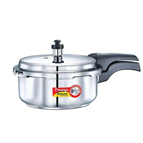 Prestige Alpha PRSDA-2L Induction Base Stainless Steel Deluxe Pressure Cooker, 2 L/Small, Silver