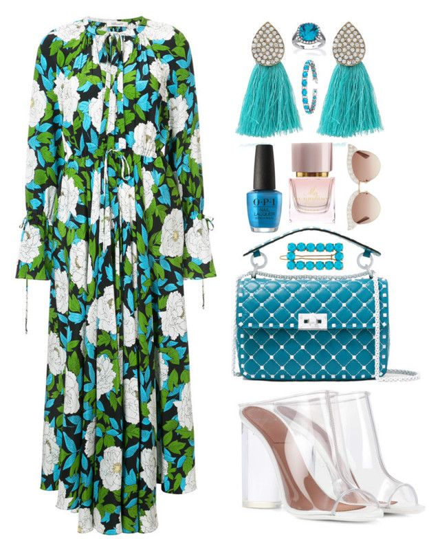 Long Dress For A Cool Summer ☀️ by pulseofthematter on Polyvore featuring polyvore fashion style Diane Von Furstenberg Givenchy Valentino Palm Beach Jewelry Allurez Gucci Kate Spade Burberry clothing