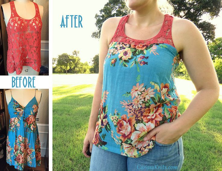 Lace & Floral Tank Top Refashion by CarissaKnits
