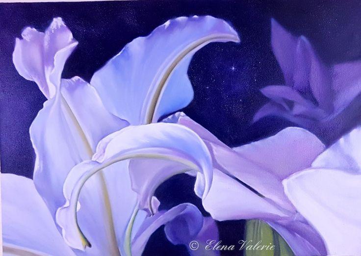 """White Lilies"" - oil painting by an Australian artist Elena Valerie"